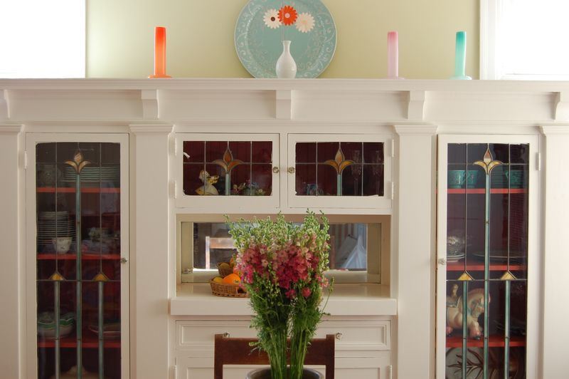 Dining cabinets close up