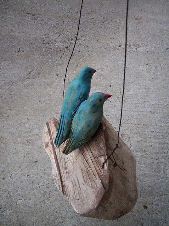 Love birds on a wooden cloud